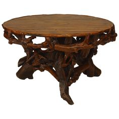 20th c. American Adirondack Style Round Root Base Dining Table | 1stdibs.com