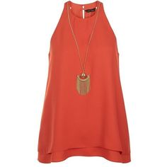 Orange Necklace Layered Sleeveless Top ($32) ❤ liked on Polyvore featuring tops, orange top, orange tank top, party tank tops, sleeveless tank tops and layering tanks