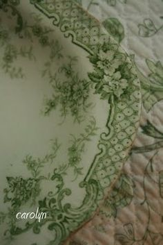 beautiful green transferware