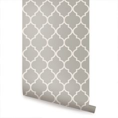 Moroccan Grey Peel & Stick Fabric Wallpaper Repositionable - Simple Shapes Wall Decals, Furniture, and Accessories