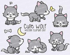 Premium Vector Clipart  Kawaii Wolf  Cute Wolves Clipart Set