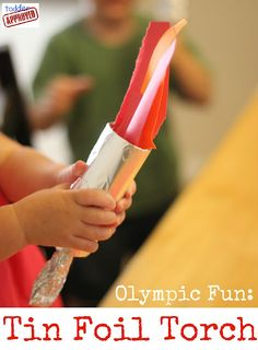 tin foil torches, what a great way to get the gets interested in the #olympics