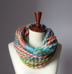 Infinity Scarf Green Pink Salmon Blue Turquoise Candy - Chunky - Accessories - Long - MINI LOOP SCARF. $45.00, via Etsy.