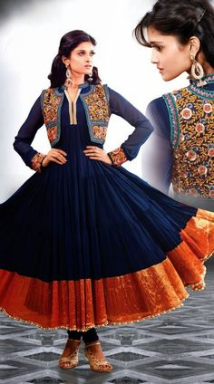 You look pretty in this classy blue georgette long anarkali suit which is completed with a resham embroidery work on the short koti style part and golden color on the broad border part which add to the royal look. This suit comes with matching bottom and dupatta.This Salwar Kameez can be stitched in the maximum bust size of 44 inches.