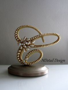 Wedding Cake Topper: Monogram Letter C in Gold Pearls for Gatsby, 50th or Golden Anniversary