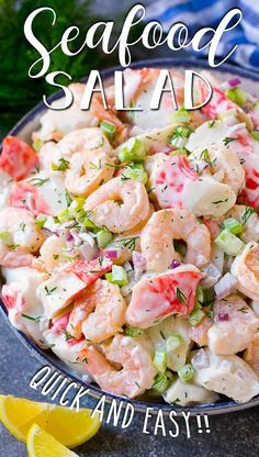 This seafood salad is a blend of imitation crab and shrimp in a creamy dill dressing with fresh vegetables. Seafood Appetizers, Seafood Salad, Seafood Dishes, Crab Meat Salad, Sea Food Salad Recipes, Crab Meat Recipes, Healthy Recipes, Shrimp Salad Recipes, Imitation Crab Recipes