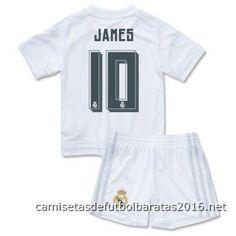 Réplica camisetas de fútbol baratas niños Real Madrid JAMES 2016 1ª equipación