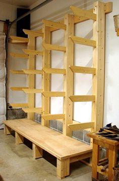 Lumber storage - wood storage workshop , long planned, new shop wood rack and it is finally done! Lumber Storage Rack, Lumber Rack, Wood Rack, Workshop Storage, Shed Storage, Wood Workshop, Garage Storage, Workshop Ideas, Tool Storage
