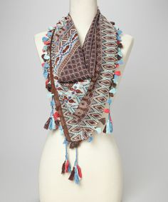 Look at this Blue Tribal Square Tassel Scarf on #zulily today!