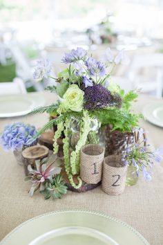 Southern Chic Wedding Centerpiece| Photo by: 1326studios.com