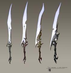 Concept art weapons 아트 оружие, рисунки 및 броня Fantasy Sword, Fantasy Armor, Fantasy Weapons, Ninja Weapons, Anime Weapons, Armor Concept, Weapon Concept Art, Armas Ninja, Sword Design