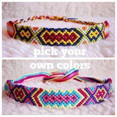 Friendship Bracelet - MADE TO ORDER: Braided Handmade Embroidery Floss Fiber Friendship Bracelet - Small Tribal Diamonds. $10.00, via Etsy.