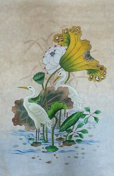 garden of the far east Korean Painting, Chinese Painting, Chinese Art, Lotus Kunst, Lotus Art, Lotus Painting, Fabric Painting, Art And Illustration, Peacock Wall Art