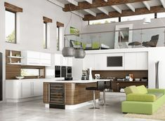 Terrific Open Kitchen Design Idea with Modern Kitchen Island and Bar Stool also Stainless Steel Hanging Lamp Decor and Fancy Green Couch on the Fur Rug Idea Kitchen Ikea, Wooden Kitchen Cabinets, Ikea Kitchen Design, Kitchen Cabinet Design, Modern Kitchen Design, Kitchen Interior, Kitchen Colors, Kitchen Pantries, Dark Cabinets