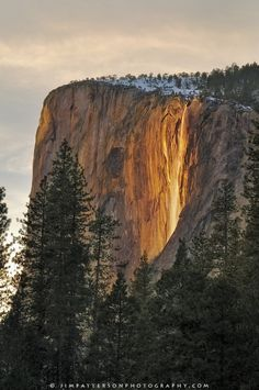"""""""Every year in February, hundreds of photographers come to Yosemite for a chance of seeing the sunset light illuminate Horsetail Falls off El Capitan.  Many conditions need to happen for this to occur, and I was lucky to have seen a decent display of light."""" -Jim Patterson"""