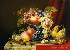 Jarrón de frutas.  Bodegón con frutas.  Óleo sobre lienzo