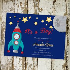 Baby boy shower invitation, space ship, moon and stars, it's a boy, digital, printable file (item 1273) on Etsy, $13.00