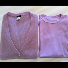 J Crew Mohair cardigan w/ matching Tshirt size Med JCrew lovely lavender, light weight Mohair Cardigan with matching long sleeve t-shirt for underneath, in great condition, size Medium J. Crew Sweaters Cardigans