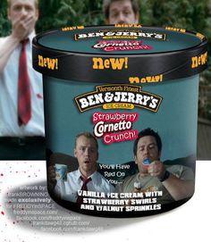 Strawberry Cornetto Crunch. Ben & Jerry's Horror Film Ice Creams. Shaun of the Dead