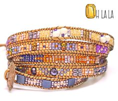 Wrap Bracelet with Crystals and Beads on Tan от OhlalaJewelry
