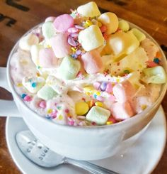 Courtesy of California-based café and dessert parlour Crème & Sugar, please behold the pink, sparkly, magic of unicorn hot chocolate. Unicorn hot chocolate is simply white hot chocolate that has been dyed a pretty pink shade, topped with tiny multicoloured marshmallows and plenty of sprinkles.