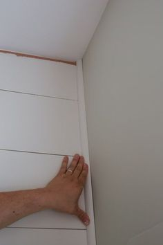 DIY Shiplap Accent Walls – Angela Marie Made - accent wall Westminster, Shiplap Trim, White Shiplap, Painting Shiplap, Faux Painting, Corner Moulding, Moulding Wall, Moldings, Installing Shiplap