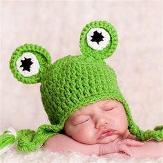 Crochet Knitted Frog Hat