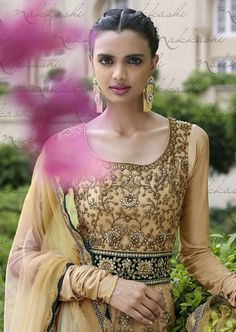 Beige and black heavy embroidery gown style anarkali suit