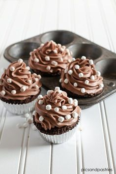 Chocolate cupcakes topped with a sweet and delicious hot chocolate frosting.