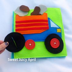 Button Wheels Dump Truck Quiet Book Page por SweetJuicyApril