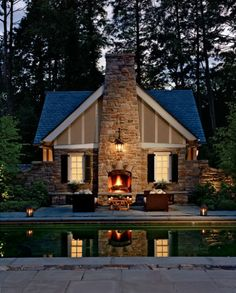 Outdoor fireplace, stone, gable roof