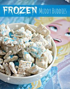 If you've got a Disney's Frozen fan at home, try making this super easy and fun snack inspired by the enormously popular movie. This Gluten-Free Frozen Themed Muddy Buddies recipe has just six ingredients. Frozen Birthday Party, Birthday Party Themes, 3rd Birthday, Birthday Ideas, Frozen Party Food, Disney Frozen Food, Olaf Party, Birthday Activities, Disney Birthday