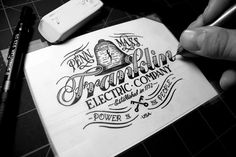 Franklin Electric Company - Inks by Jason Carne // lettering Types Of Lettering, Lettering Design, Logo Design, Graphic Design, Design Lab, Print Design, Vintage Typography, Typography Letters, Vintage Fonts