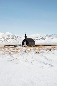 This 19th-century church is set on lava fields at Búðir in West Iceland, and hosts some 100 weddings a year. Jonathan gregson photography #iceland #church #snow