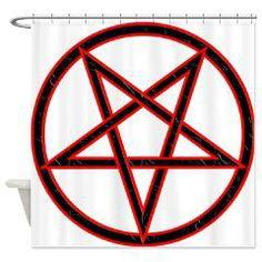Inverted Pentagram Shower Curtain> Inverted Pentagram> Route 73 Design and Printing Inc.