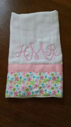 Burp cloth with soft flannel on the edge. Monogrammed with babies initials. Great baby gift. Www.com.etsy / shop / southernsevendesigns