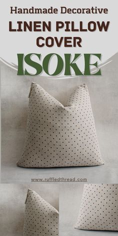 ISOKE- Linen Pillow Cover by RUffled Thread. Pillow insert not included. Handcrafted in the USA. Size: 20 in X 20 in and 22 in X 22 in . Use pillow inserts 1 inch larger than the dimensions for the best look. The front is 100% natural linen and the backside is 100% natural canvas. Thick texture, durable fabric. Invisible/Hidden zipper closure. Spot clean #homedecor #rustic #minimalist #handmade #crafted #decorinspiration