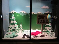 Marc Jacobs South Park windows visual merchandising     This is an odd brand adjacency, regardless its very fun!    For Jill