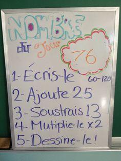 Le nombre du jour (3ème année) pour pratiquer les opérations. Activité de transition qui calme les élèves. 5 minutes et on corrige. Education, Decor, D Day, Drawing Drawing, Decoration, Onderwijs, Decorating, Learning, Deco
