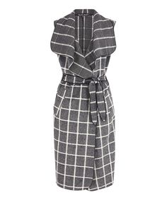 Look at this Gray Windowpane Tie-Waist Dress on #zulily, $61, 13 Oct 2015.