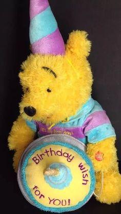 "Walt Disney World Happy Birthday Cake Party Winnie The Pooh Plush 14"" Large | eBay"