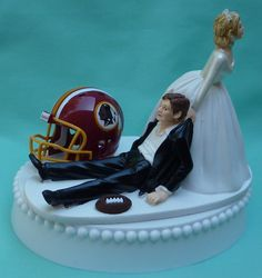 Wedding Cake Topper Denver Broncos Football Themed via Etsy. I should do this for our wedding cake only with Dallas Cowboys instead of Broncos Redskins Football, Oakland Raiders Football, Denver Broncos Football, Football Fans, Funny Football, Bears Football, Saints Football, Football Season, Pittsburgh Steelers