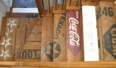 Crate stairs (projects, crafts, DIY, do it yourself, interior design, home decor, fun, creative, uses, use, ideas, inspiration, 3R's, reduce, reuse, recycle, used, upcycle, repurpose, handmade, homemade, wood, wooden, advertising, cola, retro, vintage)