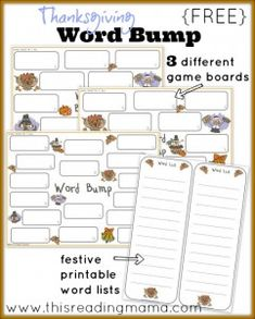 FREE Thanksgiving Word Bump: Works With Any Spelling List!