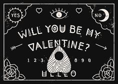 """lordofmasks: """" A Valentine for your boo 👻🔮💜✨ Printable Ouija Board Valentine available here! My Funny Valentine, Anti Valentines Day, Valentines Art, Valentines Day Decorations, Valentine Gifts, Wicca, Gothic Culture, Ouija, Cricut Creations"""
