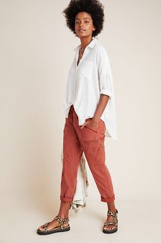 Angela Cropped Cargo Pants by Anthropologie in Pink Size: Sz 33 Tall, Women's Camo Jogger Pants, Harem Pants, Cargo Pants Women, Pants For Women, Joggers Outfit, Tall Women, Cropped Pants, Fashion Pants, New Outfits