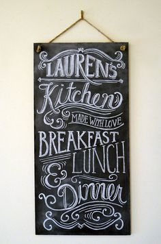 Custom Chalkboard   Kitchen Chalkboard Sign   Typography Art   Custom  Kitchen Sign   Personalized Gift   Vintage Sign
