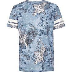 Boys blue tiger print t-shirt