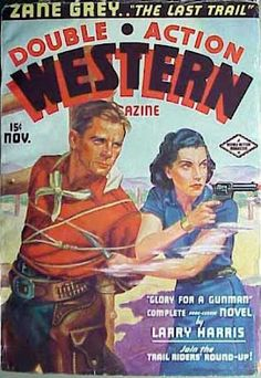 I love these vintage wild west covers. But no art attribution here.