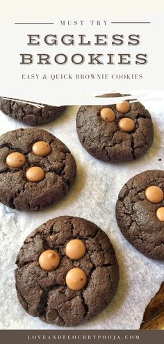 Are these brownies? Or are these cookies? They're both – fudgy brownies encased in the shell of a cookie – these are the best Brownie Cookies ever! With the cracked top, and dense fudgy center, it's actually exactly like eating a brownie. All you need is simple ingredients like Chocolate Chips, Whole-Wheat Flour, Cocoa powder etc. Read the full recipe on my blog to try this brookies recipe at your home. Brownie Cookies, Chip Cookies, Cookies Et Biscuits, All You Need Is, No Bake Desserts, Dessert Recipes, Baking Recipes, Cookie Recipes, Best Ever Brownies
